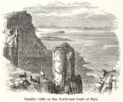 Basaltic Cliffs on the North-East Coast of Skye. Illustration for The World As It Is by George Chisholm (Blackie, 1885).