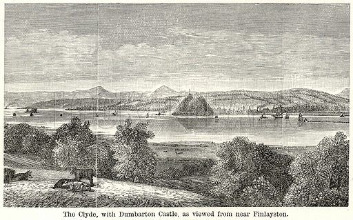 The Clyde, with Dumbarton Castle, as viewed from near Finlayston. Illustration for The World As It Is by George Chisholm (Blackie, 1885).