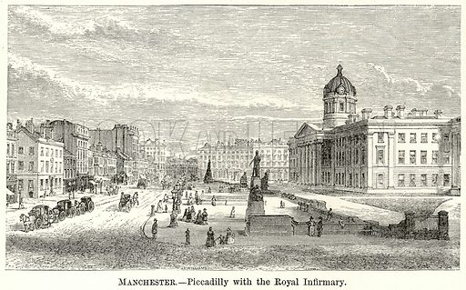 Manchester. – Piccadilly with the Royal Infirmary. Illustration for The World As It Is by George Chisholm (Blackie, 1885).