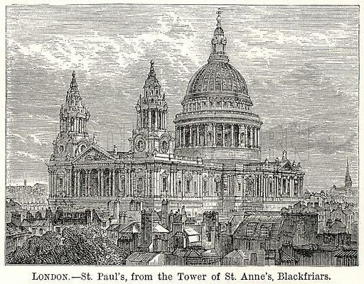 London. – St Paul's, from the Tower of St Anne's, Blackfriars. Illustration for The World As It Is by George Chisholm (Blackie, 1885).