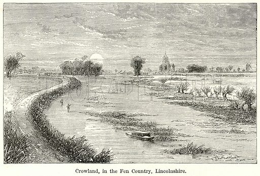 Crowland, in the Fen Country, Lincolnshire. Illustration for The World As It Is by George Chisholm (Blackie, 1885).
