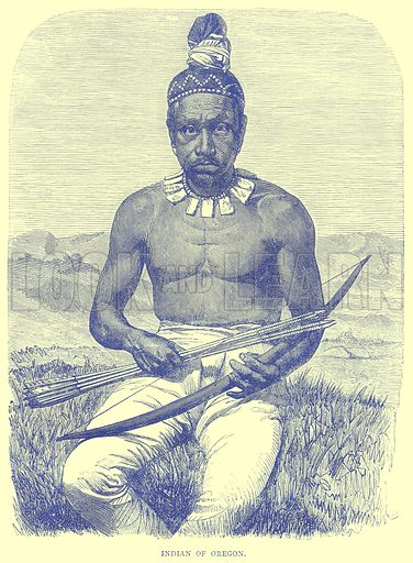 Indian of Oregon. Illustration from Illustrated Travels edited by H W Bates (Cassell, c 1880).