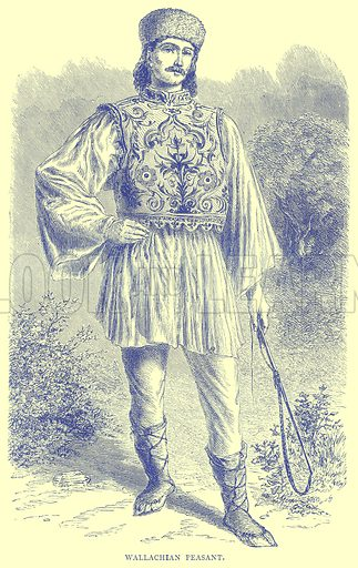 Wallachian Peasant. Illustration from Illustrated Travels edited by H W Bates (Cassell, c 1880).