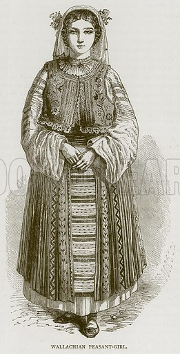 Wallachian Peasant-Girl. Illustration from Illustrated Travels edited by H W Bates (Cassell, c 1880).