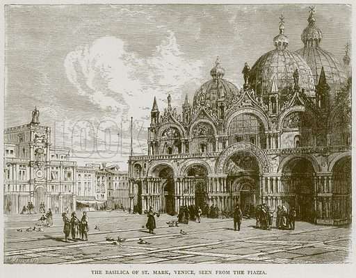The Basilica of St. Mark, Venice, seen from the Piazza. Illustration from Illustrated Travels edited by H W Bates (Cassell, c 1880).