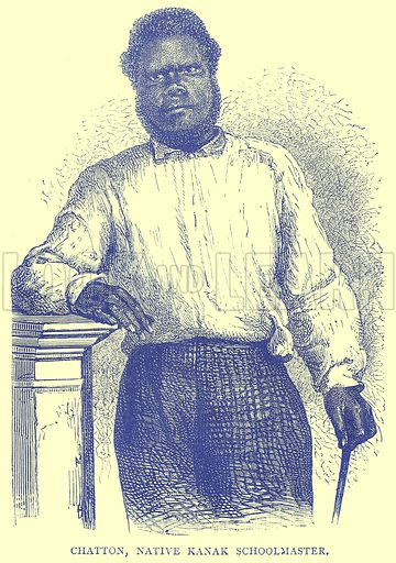 Chatton, Native Kanak Schoolmaster. Illustration from Illustrated Travels edited by H W Bates (Cassell, c 1880).