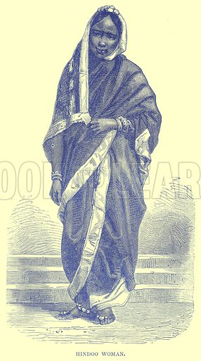 Hindoo Woman. Illustration from Illustrated Travels edited by H W Bates (Cassell, c 1880).