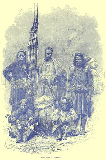 Our Coolie Porters. Illustration from Illustrated Travels edited by H W Bates (Cassell, c 1880).