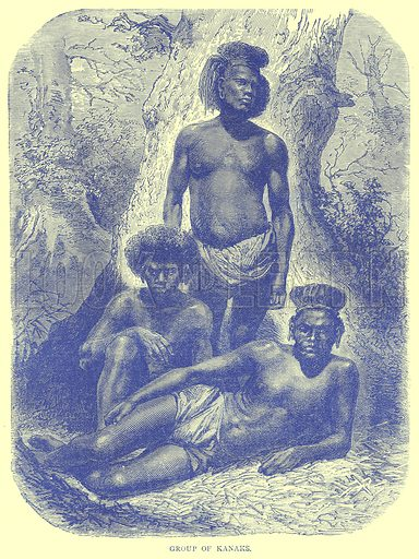 Group of Kanaks. Illustration from Illustrated Travels edited by H W Bates (Cassell, c 1880).