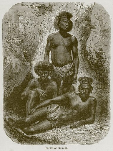 Group of Kanaks. Illustration from Illustrated Travels edited by HW Bates (Cassell, c 1880).