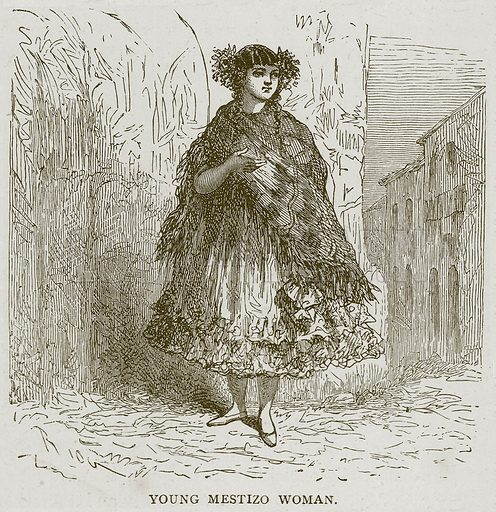 Young Mestizo Woman. Illustration from Illustrated Travels edited by H W Bates (Cassell, c 1880).