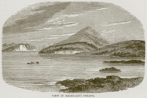 View in Magellan's Straits. Illustration from Illustrated Travels edited by HW Bates (Cassell, c 1880).