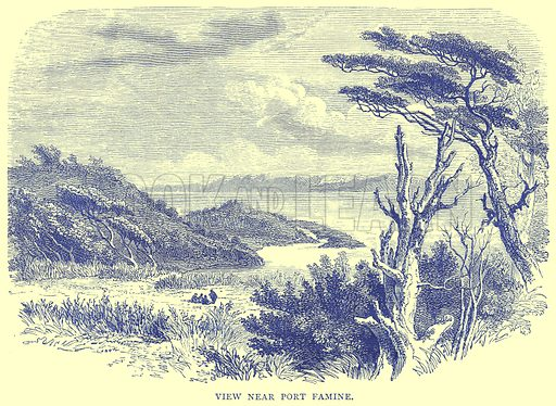 View near Port Famine. Illustration from Illustrated Travels edited by H W Bates (Cassell, c 1880).