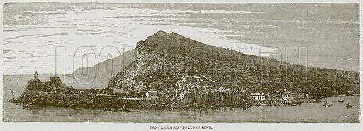 Panorama of Portovenere. Illustration from Illustrated Travels edited by H W Bates (Cassell, c 1880).