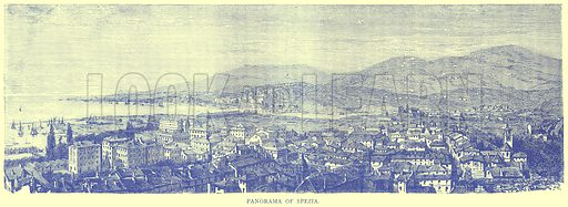 Panorama of Spezia. Illustration from Illustrated Travels edited by H W Bates (Cassell, c 1880).