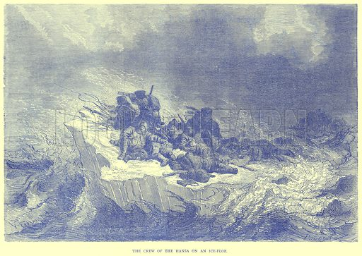 The Crew of the Hansa on an Ice-Floe. Illustration from Illustrated Travels edited by H W Bates (Cassell, c 1880).