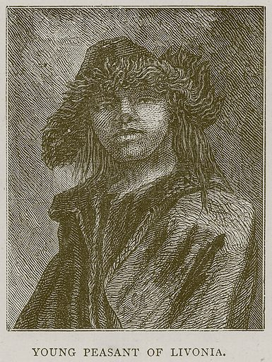 Young Peasant of Livonia. Illustration from Illustrated Travels edited by HW Bates (Cassell, c 1880).