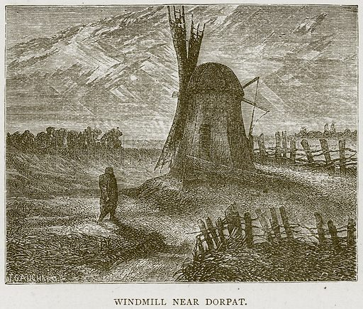 Windmill near Dorpat. Illustration from Illustrated Travels edited by H W Bates (Cassell, c 1880).