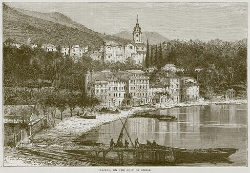 Fezzano, on the Gulf of Spezia. Illustration from Illustrated Travels edited by HW Bates (Cassell, c 1880).