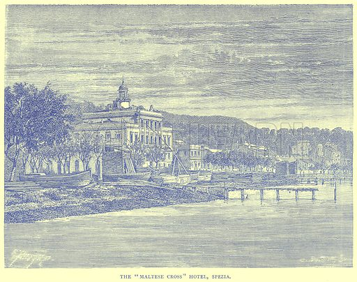 """The """"Maltese Cross"""" Hotel, Spezia. Illustration from Illustrated Travels edited by H W Bates (Cassell, c 1880)."""