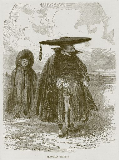 Peruvian Priests. Illustration from Illustrated Travels edited by H W Bates (Cassell, c 1880).