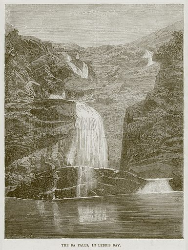 The Ba Falls, in Lebris Bay. Illustration from Illustrated Travels edited by H W Bates (Cassell, c 1880).