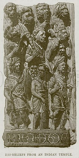 Bas-Reliefs from an Indian Temple. Illustration from Illustrated Travels edited by HW Bates (Cassell, c 1880).