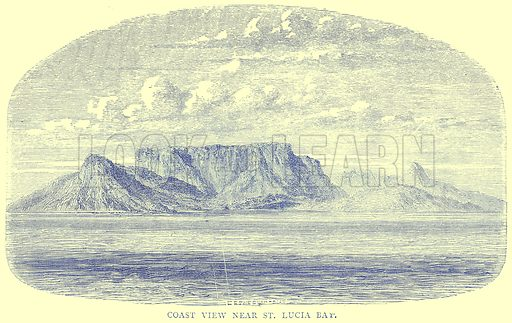 Coast View near St. Lucia Bay. Illustration from Illustrated Travels edited by H W Bates (Cassell, c 1880).