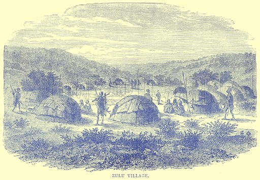 Zulu Village. Illustration from Illustrated Travels edited by H W Bates (Cassell, c 1880).