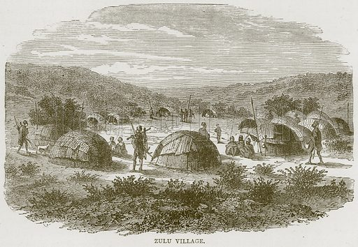 Zulu Village. Illustration from Illustrated Travels edited by HW Bates (Cassell, c 1880).