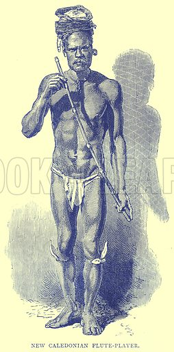 New Caledonian Flute-Player. Illustration from Illustrated Travels edited by H W Bates (Cassell, c 1880).