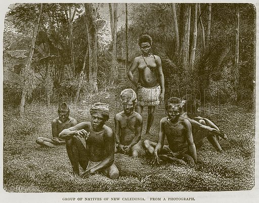 Group of Natives of New Caledonia. Illustration from Illustrated Travels edited by HW Bates (Cassell, c 1880).