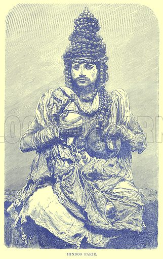 Hindoo Fakir. Illustration from Illustrated Travels edited by H W Bates (Cassell, c 1880).