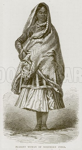 Peasant Woman of Northern India. Illustration from Illustrated Travels edited by HW Bates (Cassell, c 1880).