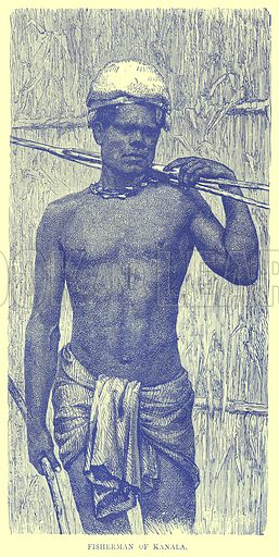 Fisherman of Kanala. Illustration from Illustrated Travels edited by H W Bates (Cassell, c 1880).