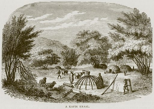 A Kafir Kraal. Illustration from Illustrated Travels edited by H W Bates (Cassell, c 1880).