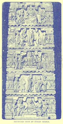 Bas-Relief from an Indian Temple. Illustration from Illustrated Travels edited by H W Bates (Cassell, c 1880).