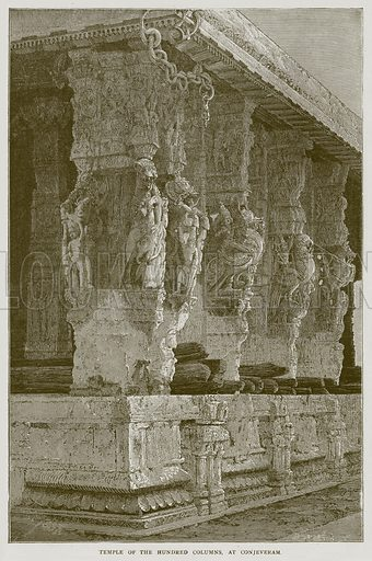 Temple of the Hundred Columns, at Conjeveram. Illustration from Illustrated Travels edited by H W Bates (Cassell, c 1880).