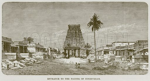 Entrance to the Pagoda of Conjeveram. Illustration from Illustrated Travels edited by H W Bates (Cassell, c 1880).