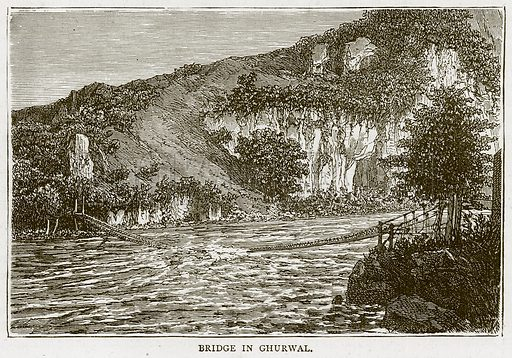 Bridge in Ghurwal. Illustration from Illustrated Travels edited by H W Bates (Cassell, c 1880).