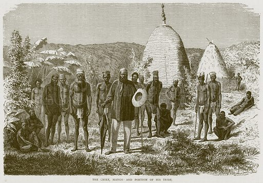 The Chief, Mango and Portion of his Tribe. Illustration from Illustrated Travels edited by H W Bates (Cassell, c 1880).