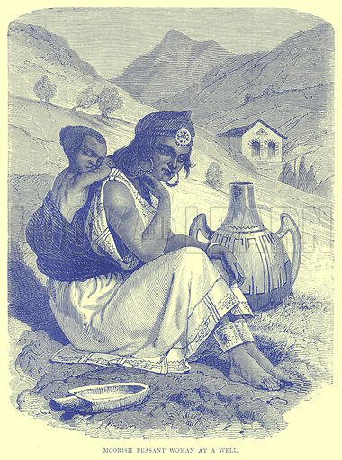 Moorish Peasant Woman at a Well. Illustration from Illustrated Travels edited by H W Bates (Cassell, c 1880).