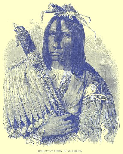 Hashquaht Chief, in War-Dress. Illustration from Illustrated Travels edited by H W Bates (Cassell, c 1880).