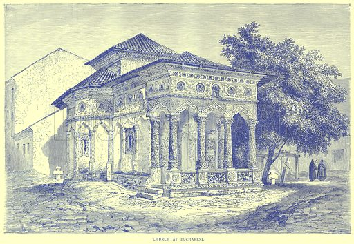 Church at Bucharest. Illustration from Illustrated Travels edited by H W Bates (Cassell, c 1880).