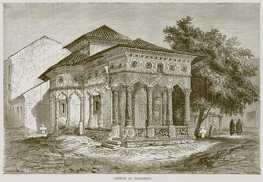 Church at Bucharest. Illustration from Illustrated Travels edited by HW Bates (Cassell, c 1880).