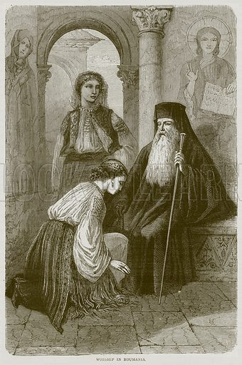 Worship in Roumania. Illustration from Illustrated Travels edited by H W Bates (Cassell, c 1880).