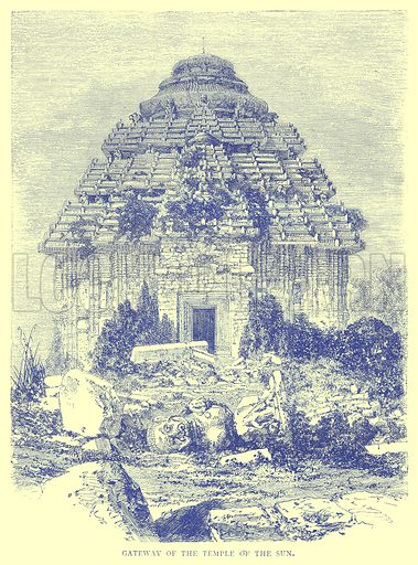 Gateway of the Temple of the Sun. Illustration from Illustrated Travels edited by H W Bates (Cassell, c 1880).