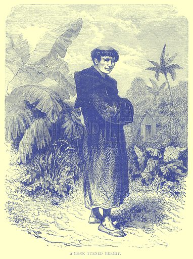 A Monk turned Hermit. Illustration from Illustrated Travels edited by H W Bates (Cassell, c 1880).