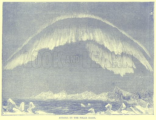 Aurora in the Polar Basin. Illustration from Illustrated Travels edited by H W Bates (Cassell, c 1880).