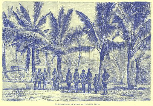 Fishing-Village, in Grove of Coco-Nut Trees. Illustration from Illustrated Travels edited by H W Bates (Cassell, c 1880).